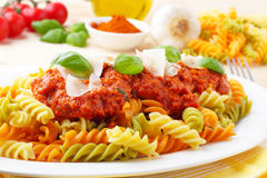 Fusilli Tricolore Bolognese Royalty Free Stock Photography