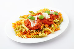 Fusilli Tricolore Bolognese Stock Photos