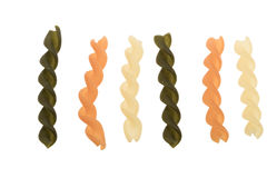 Fusilli tricolore pasta. Isolated on a white background Royalty Free Stock Image