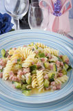Fusilli with zucchini and ham Stock Images
