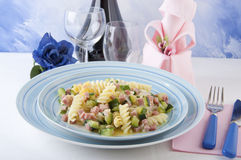 Fusilli with zucchini and ham Royalty Free Stock Image