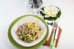Fusilli with zucchini and ham Royalty Free Stock Photo