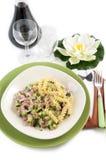 Fusilli with zucchini and ham Stock Photo
