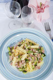 Fusilli with zucchini and ham Stock Photography