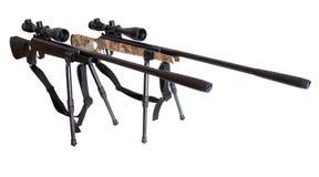 Fusils à air comprimé avec des vues télescopiques avec le bipod Images libres de droits