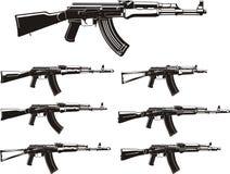 Fusils d'assaut de kalachnikov réglés Photo libre de droits