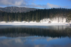 Fusine lower lake hut Royalty Free Stock Photo