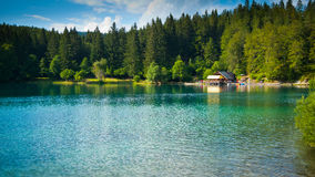 Fusine lower lake hut Royalty Free Stock Photos