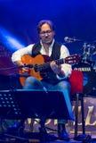 Fusion américaine de jazz et exécution latine d'Al Di Meola de guitariste de jazz vivantes chez Nisville Jazz Festival, le 11 aoû Image stock