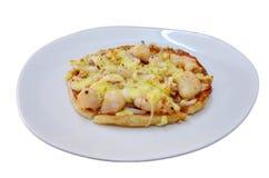 Fusion cuisine Roti pizza seafood hawaiian recipe. Fusion cuisine between muslim food and italian food Roti pizza seafood hawaiian recipe royalty free stock photography