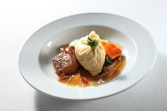 Fusion Dish. Chinese fusion dish on plain background stock photos