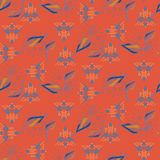 Fusion of eclectic tribal and foliage red seamless vector pattern. stock illustration