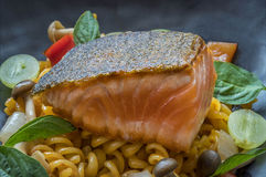 Fusion food. On black dish royalty free stock photos