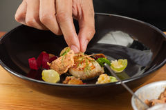 Fusion food. From chef's table course stock images