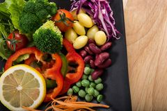 Fusion Food. Many kind of vegetable for healthy eating royalty free stock photo