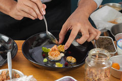 Fusion food. The making of fusion food from chef's table course royalty free stock images