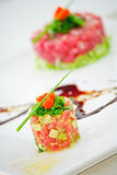 Fusion food. Salmon fusion food with detail royalty free stock image