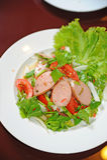 Fusion food sausage salad Royalty Free Stock Photo