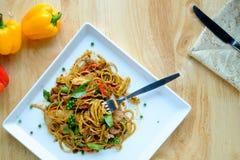 Fusion food Spaghetti spicy. Fusion food Spaghetti spicy in asian stock image