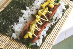 Fusion Food, the trendy rice roll Stock Photos