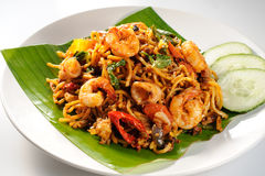Fusion Fried Mee. A plate of fusion fried noodle stock images