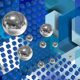 Tecnnological space with cubes 13. Fusion image between technology and space, between the new and the old Stock Image