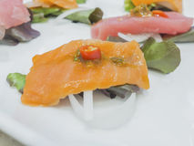 Fusion Japanese food, fish with chili garlic Stock Photos
