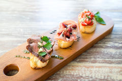 Fusion Mix Bruschetta, Italian Appetizer Royalty Free Stock Images