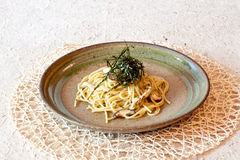 Fusion - Pasta in Japanese Style Stock Photo
