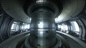 Fusion reactor Tokamak. Reaction chamber. Fusion power. 3d illus. Thermonuclear torus fusion reactor chamber. Very detailed and beautiful artistic illustration Stock Photo