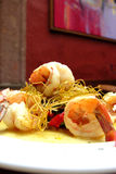 Fusion seafood. Shrimps prepared in a fusion cuisine style Royalty Free Stock Photos