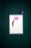 Fusion of traditional manual hard print copy handwriting with ink and feather and digital writing sign hashtag social networking s. Ymbol with copy space text Stock Image