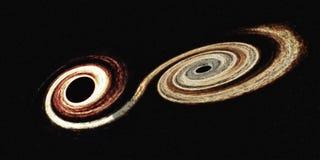 Fusione dei buchi neri nello spazio cosmico Gli elementi di questa immagine sono stati forniti dalla NASA fotografia stock libera da diritti