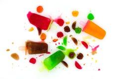 Fusione della crema del gelato alla frutta dell'insieme su fondo bianco, fav del gelato Immagine Stock Libera da Diritti