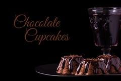 Fuskverk Brownie Cupcakes Arkivfoton