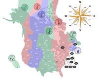 Fuso horário do mapa de EUA-Canadá. Fotografia de Stock Royalty Free