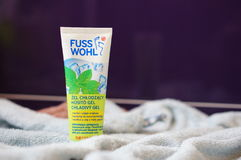 Fuss Wohl feet cream. Rossmann Fuss Wohl feet cream with mint smell in a tube on a soft towel Royalty Free Stock Photos