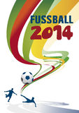 Fussball 2014 background. Abstract football or German fussball background with soccer players kicking ball Stock Photo