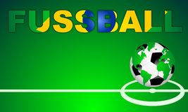 FUSSBALL. Soccer in spanish language - background with world globe football icon on green field with center line. Word designed with a abstract brazilian flag vector illustration