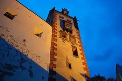 fussen德国 美术画廊的大厦的塔在小山顶部在市中心 图库摄影