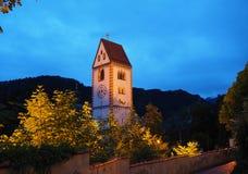 fussen germany Klockatornet av församlingkyrkan av helgonet Mang Fotografering för Bildbyråer