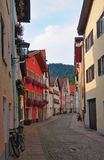 Fussen, Germany. Old street. View of the old street of Fussen in the morning. Germany, Bavaria Royalty Free Stock Image