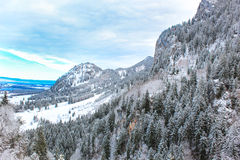 Fussen mountains in winter. With some snow in a sunny day Royalty Free Stock Image
