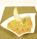 Fussili. Spicy italian fussili pasta with a moon decoration Royalty Free Stock Images