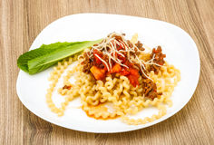 Fussili with beef meat. Long Fussili with beef minced meat and parmesan cheese Royalty Free Stock Photos