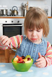 Fussy Child Rejecting Delicious Fruit Salad Pudding royalty free stock image