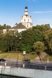 View of the Andronikov Monastery and roadway of the river Yauza quay on the clear summer evening, Moscow, Russia. In the fussy noisy Moscow sometimes you want royalty free stock image
