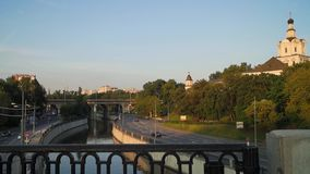 View of the Andronikov Monastery, river Yauza and roadway of its quay in sunset light, Moscow. stock video footage