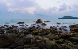 Fussy seashore. Long exposure shot of seashore in south of thailand stock photography