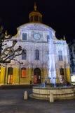 Fusterie springbrunn och tempel på jul Royaltyfri Fotografi